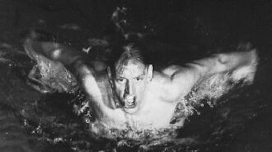 Black and white photo of a swimmer