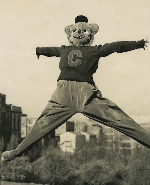 Black and white photo of 1950s Bearcat mascot