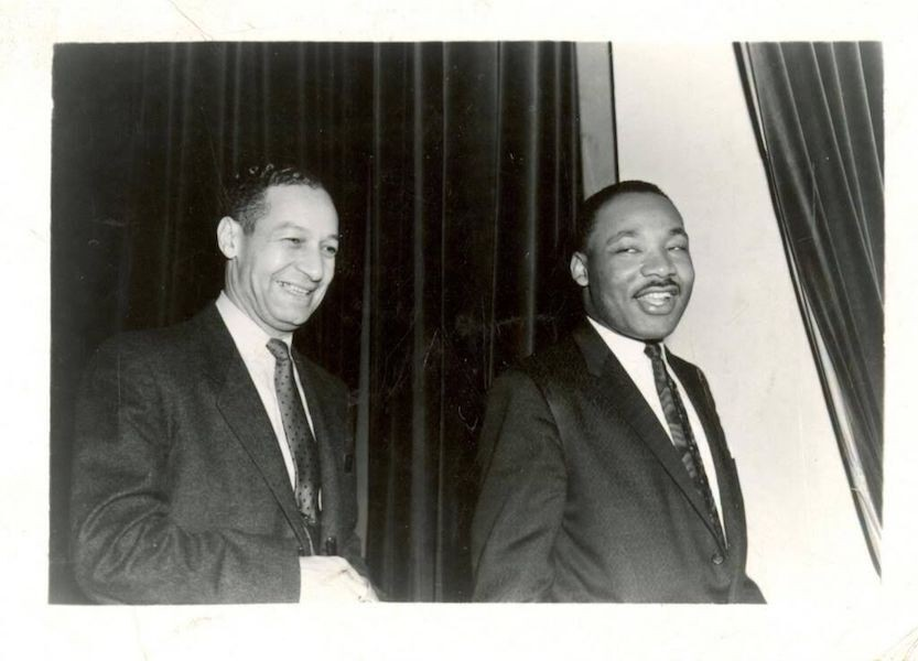 Black and white photo of Ted Berry and the Rev. Martin Luther King , Jr.