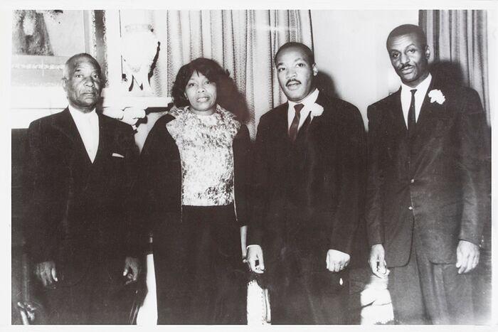 Black and white photo of Robert Shropshire, Sr.; Louise Shropshire; the Rev. Martin Luther King, Jr.; and the Rev. Fred Shuttlesworth, Sr.
