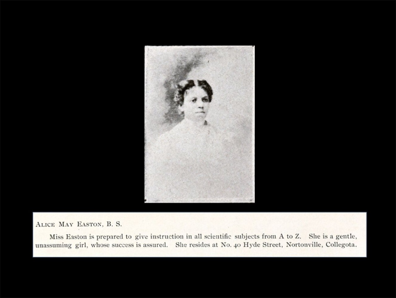 Black and white photo believed to be of Alice May Easton
