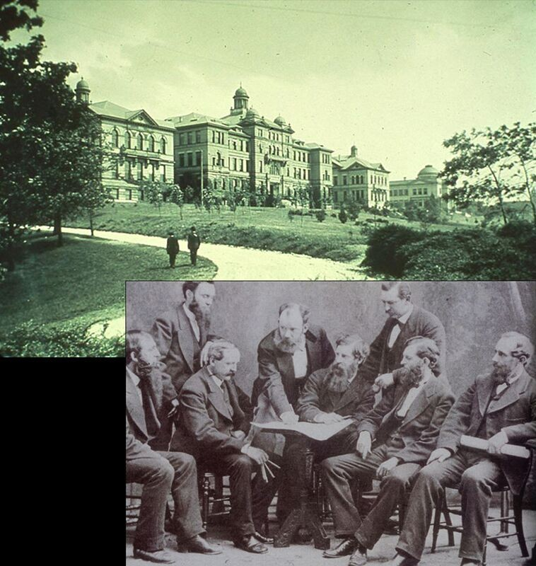 Composite image of McMicken Hall and architect Samuel Hannaford