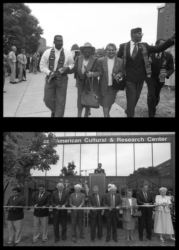 Black and white photos of the ribbon cutting of the AACRC