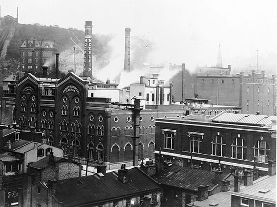 1800s brewery with smokestacks