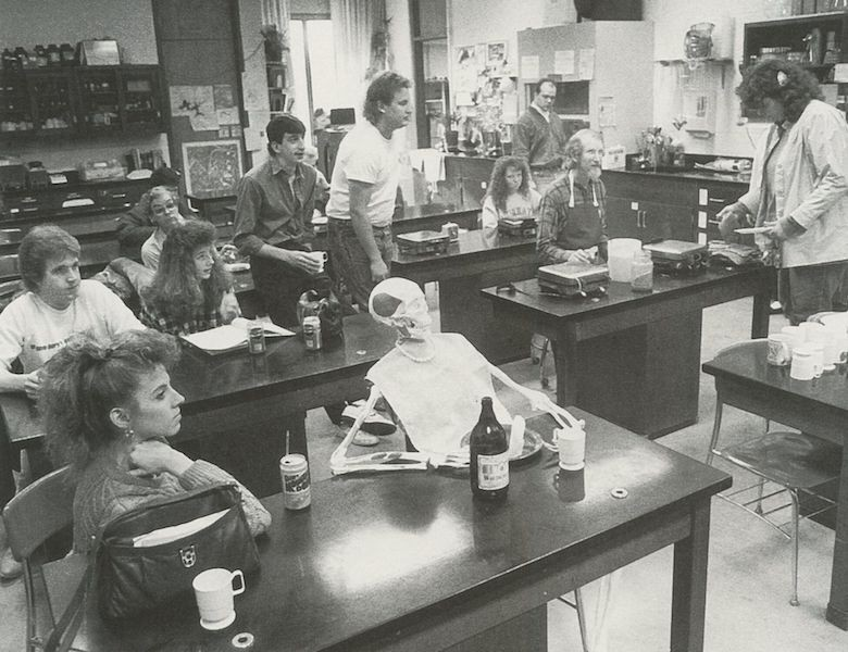 Black and white photo of UC Clermont classroom in 1980s