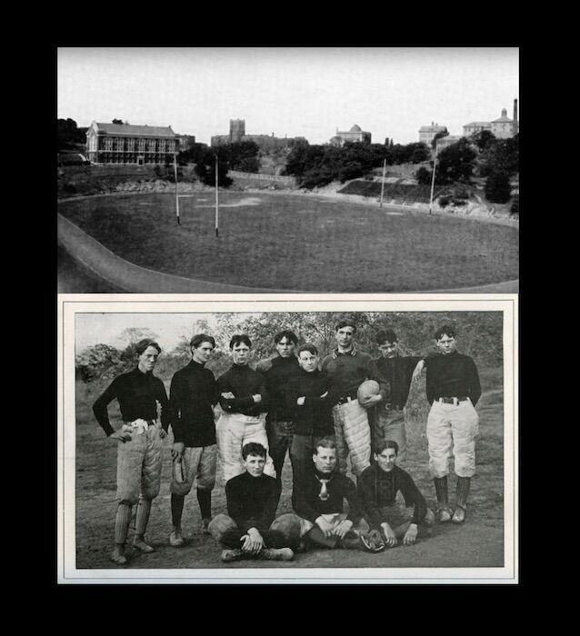 Black and white photos of Nippert Stadium and football players circa 1901