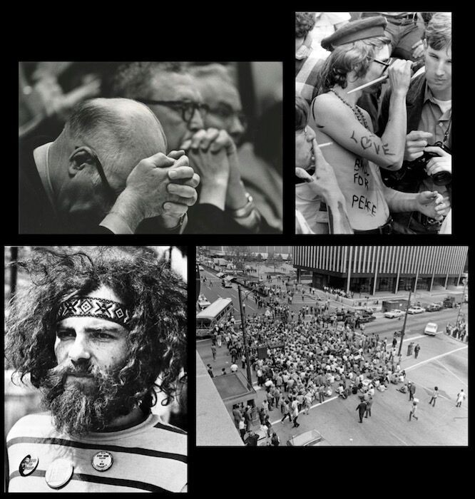 Composite image of 1970s protesters and a man with his head in his hands
