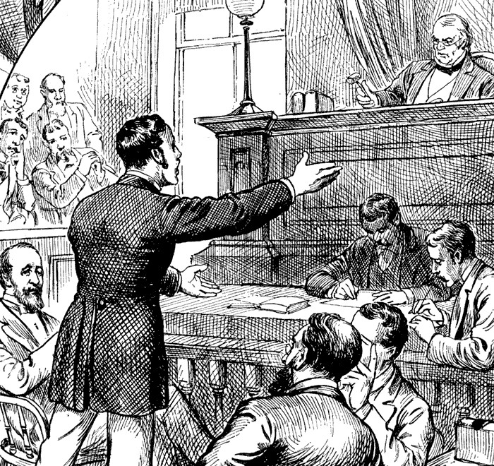 Black and white drawing of a court room scene