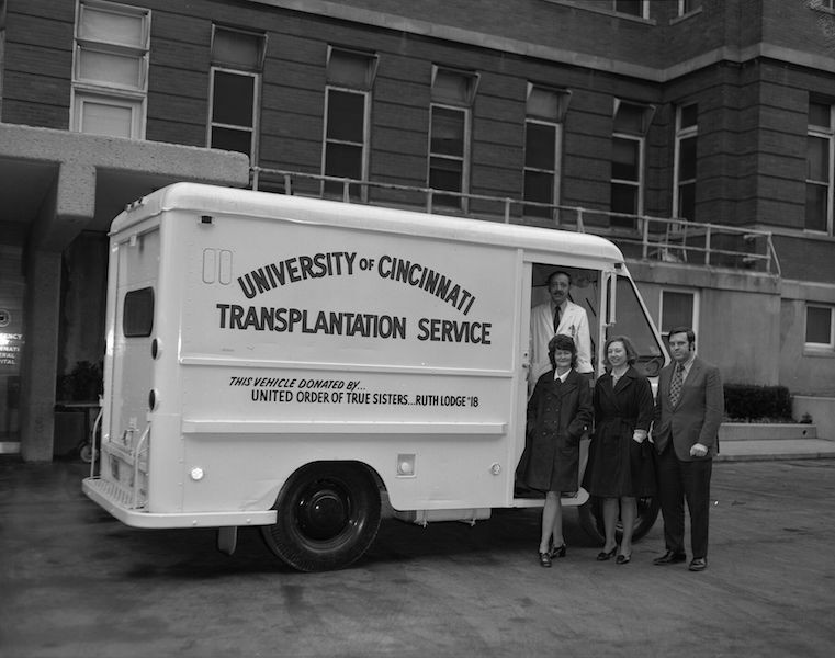 Black and white photo off a UC transplantation van in 1960s