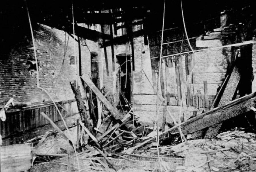 Black and white photo of fire damage
