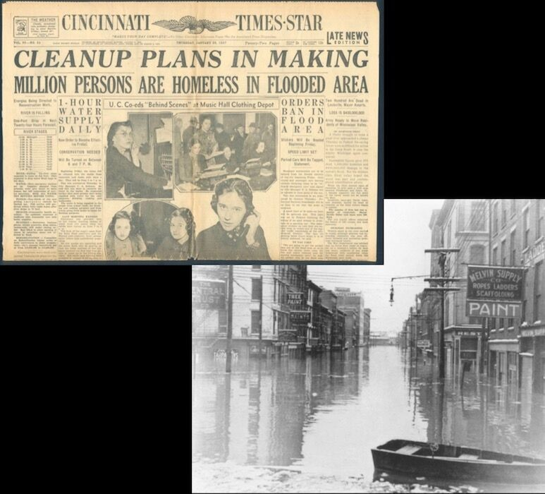 newspaper clipping and photo of 1937 flood