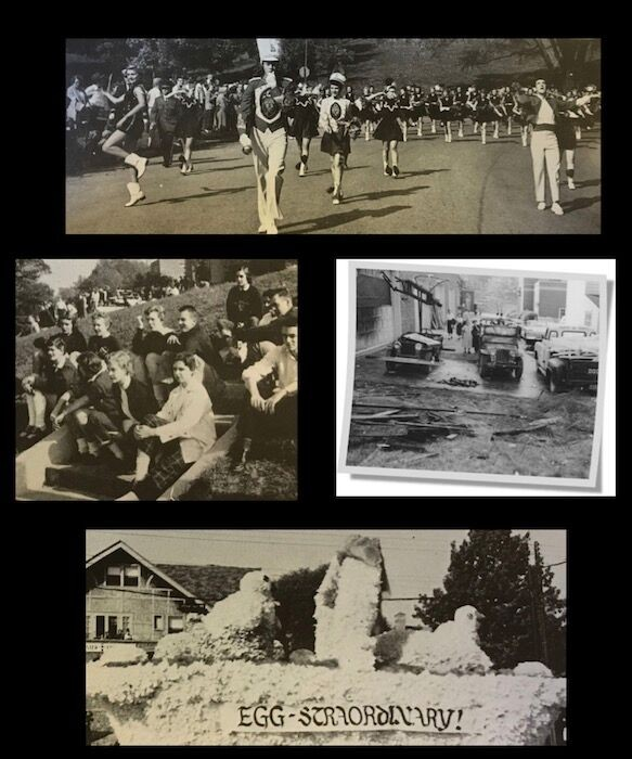 Composite image of first homecoming parade with marching band and floats