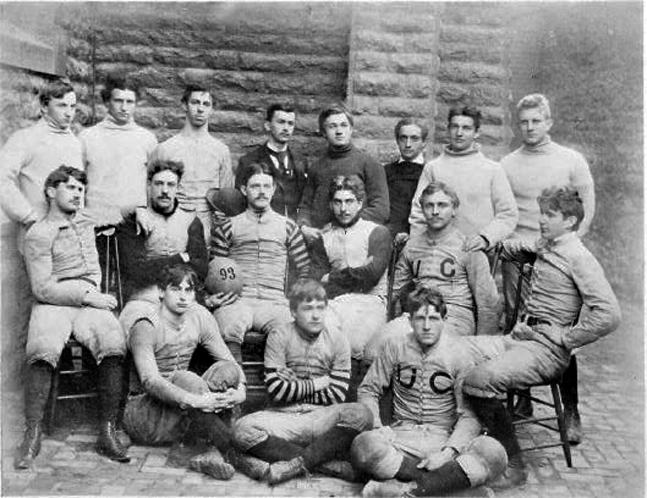 Black and white photo of 1890s football team