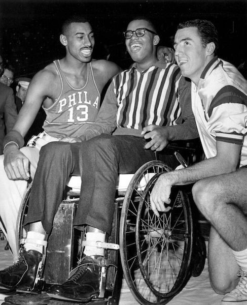 Black and white photo of Wilt Chamberlain, Maurice Stokes and Jack Twyman