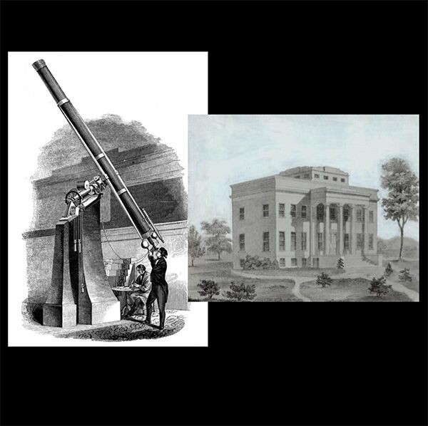 Composite image of observatory building and a man using a telescope