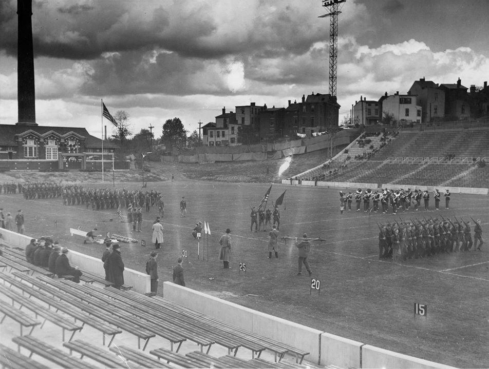 WWII soldiers running drills in Nippert stadium