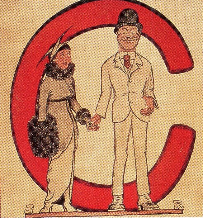 """Illustration of man and woman in front of large red """"C"""""""