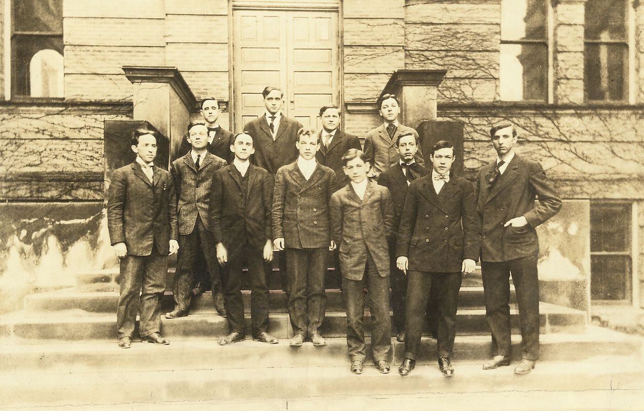 black and white photo of first co-op class
