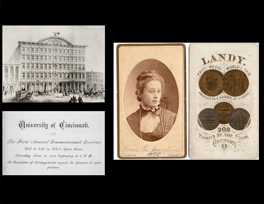 Composite image of Winona Lee Hawthorne, Pike's Opera House and original commencement invitation