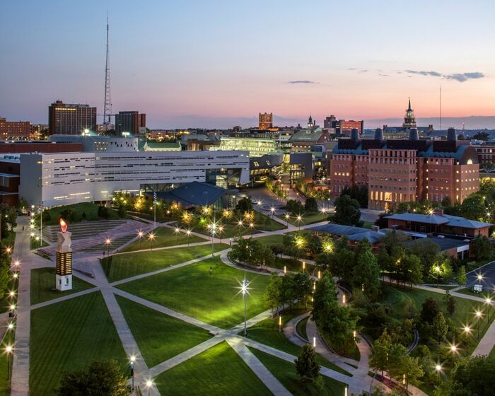 Beautiful shot of campus buildings and greenery at sunset