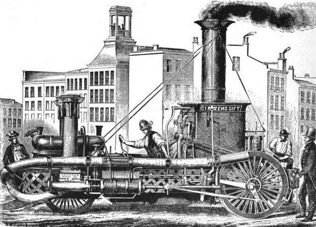 Black and white drawing of a fire engine