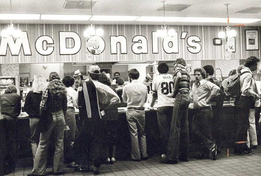 Black and white photo of UC's McDonald's in 1973