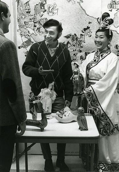 Black and white photo of a booth at UC's first International Bazaar