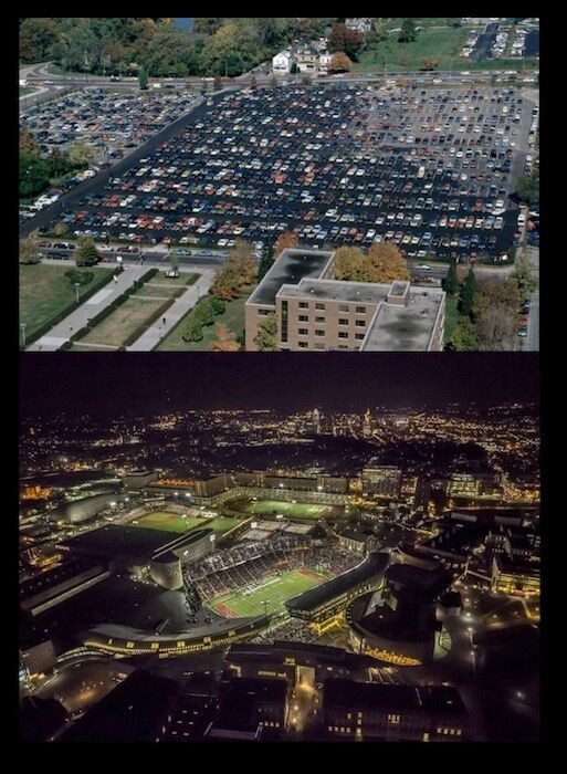 Photo of an old campus parking lot above a new photo of the campus lit beautifully at night