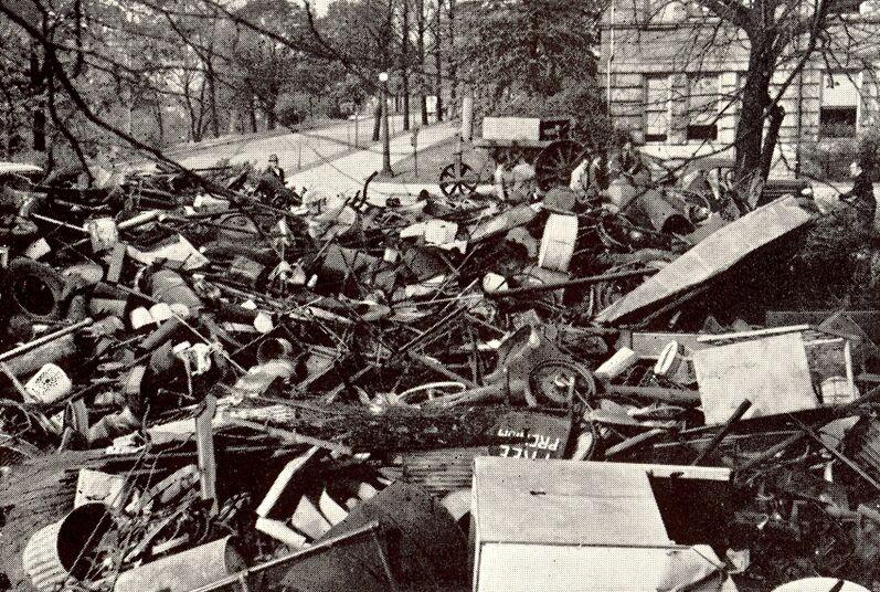 Black and white photo of scrap drive