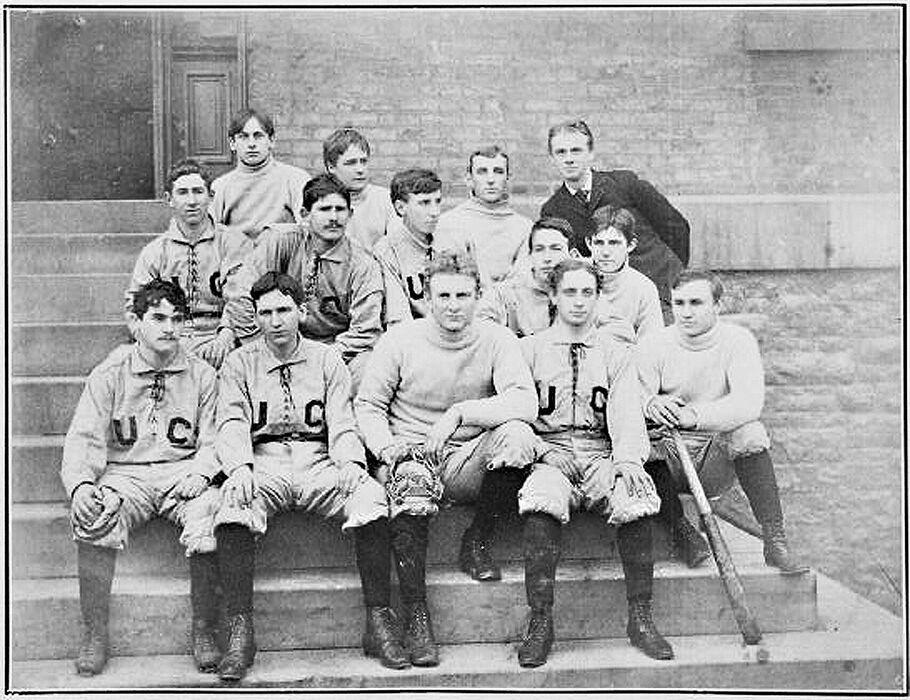 Black and white photo of 1890s baseball team