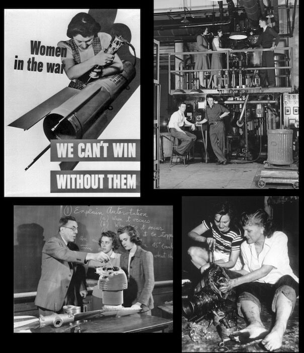 Women working in factories during WWII