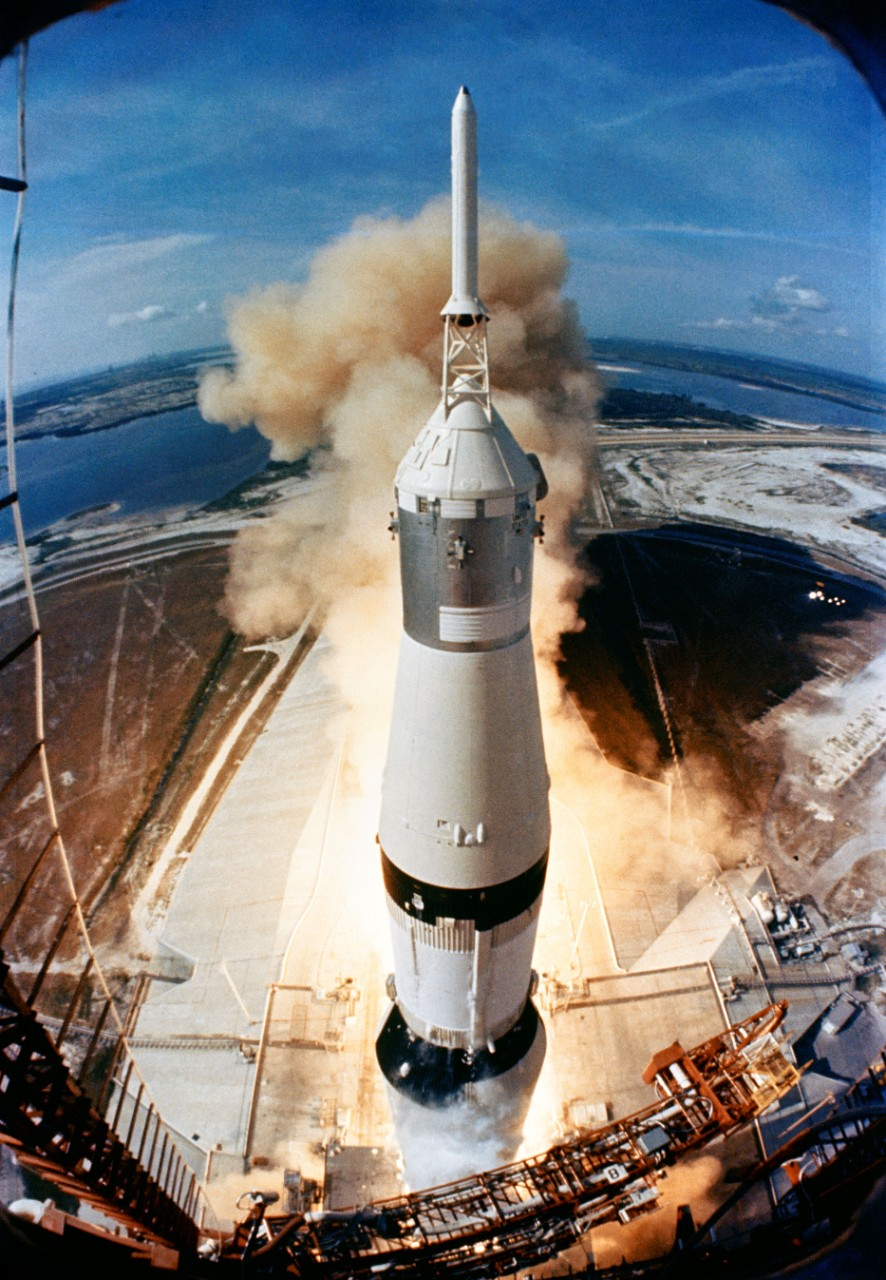 Apollo 11 takes off from Kennedy Space Center as viewed from the top of the launchpad.