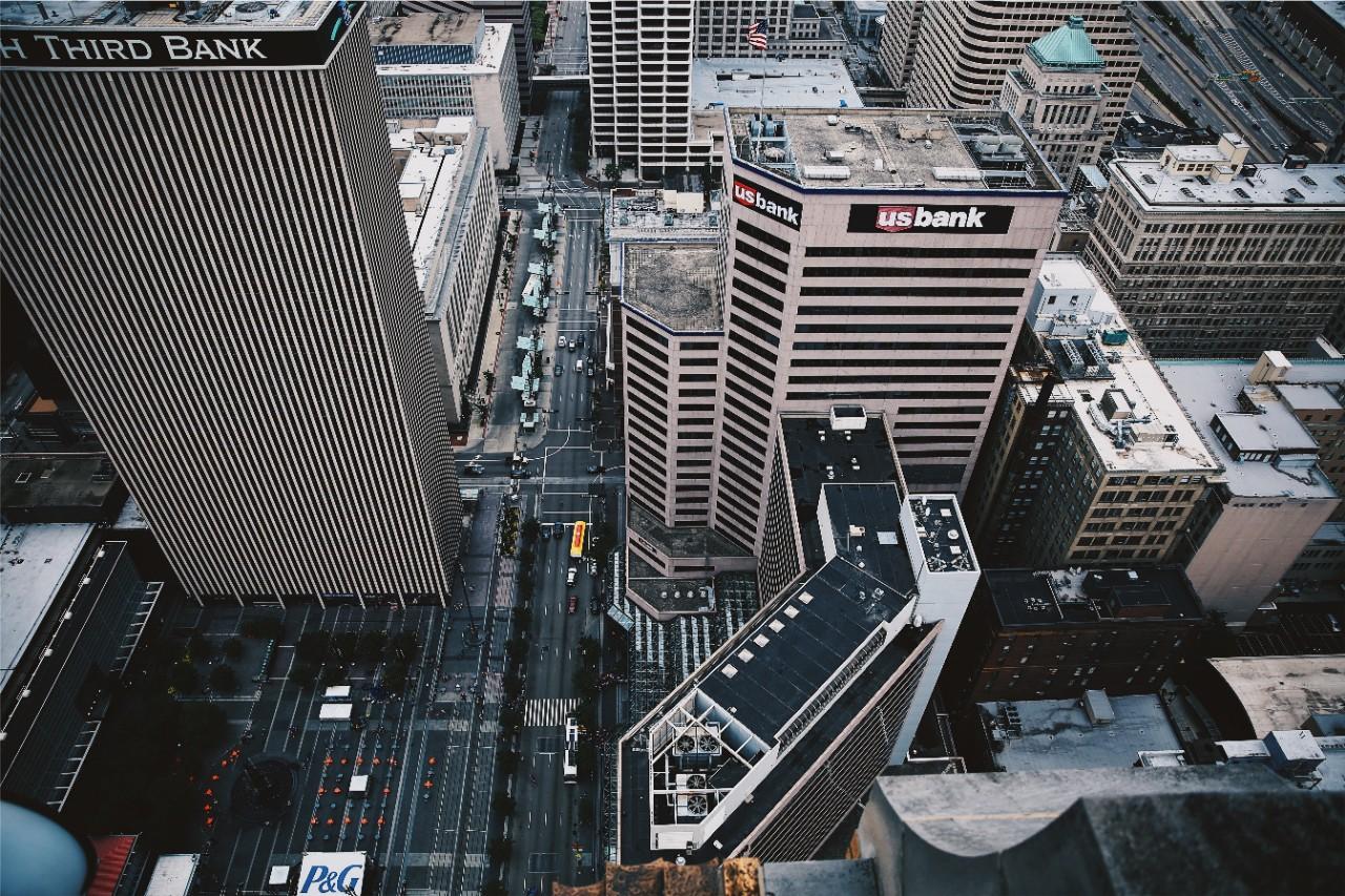 aerial shot of downtown Cincinnati