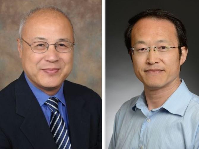 portraits of Xiaoyang Qi, PhD, and Fukun Guo, PhD