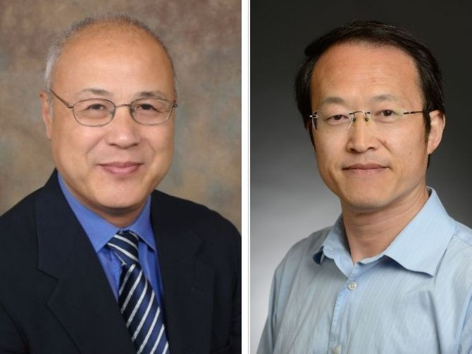 portraits of Xiaoyang Qi, PhD, and Fukun Guo, PhD