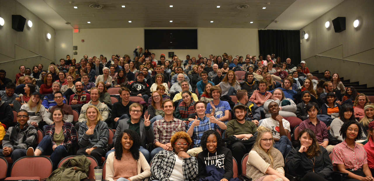 UC students fill UC's MainStreet Cinema for CCM's 48-Hour Film Festival.