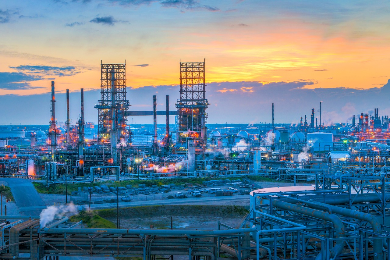 view of Galveston Bay refinery at dusk.