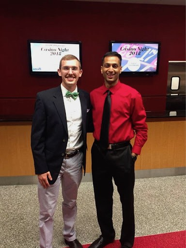 First-year medical students Jackson Howell (left) and Parth Patel (right) are shown at Advocacy Week's Casino Night.