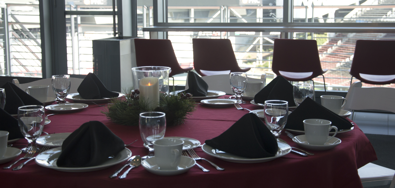 formal dining with view of Nippert Stadium