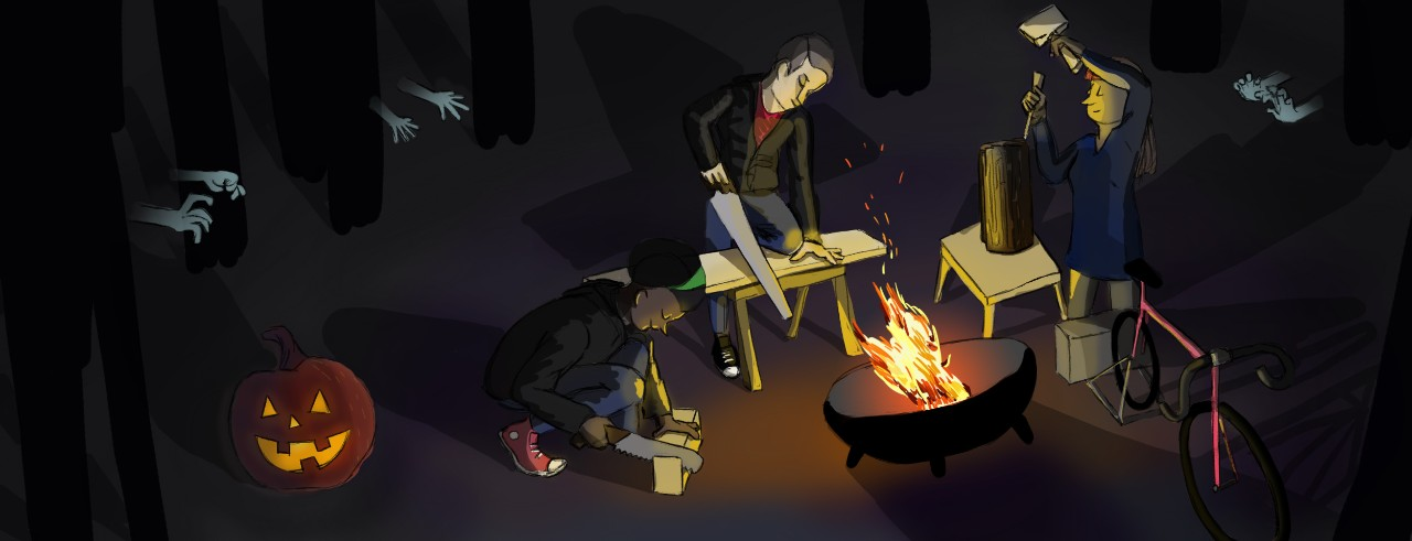 Illustration of people woodworking around a fire with zombie hands reaching out of the shadows