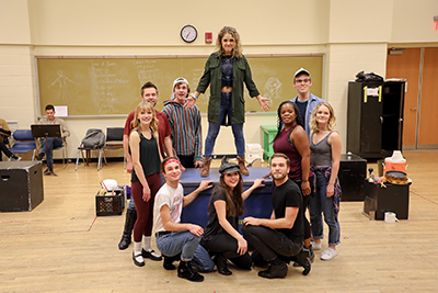 "CCM Musical Theatre students in rehearsal for ""Godspell."""