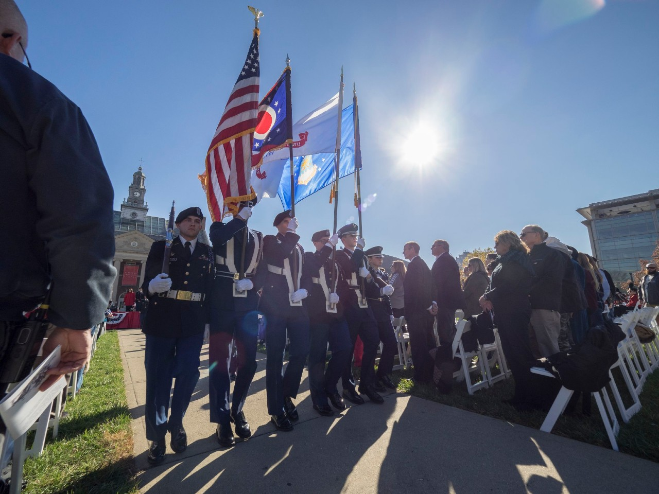 The color guard marches at a past Veterans Day ceremony
