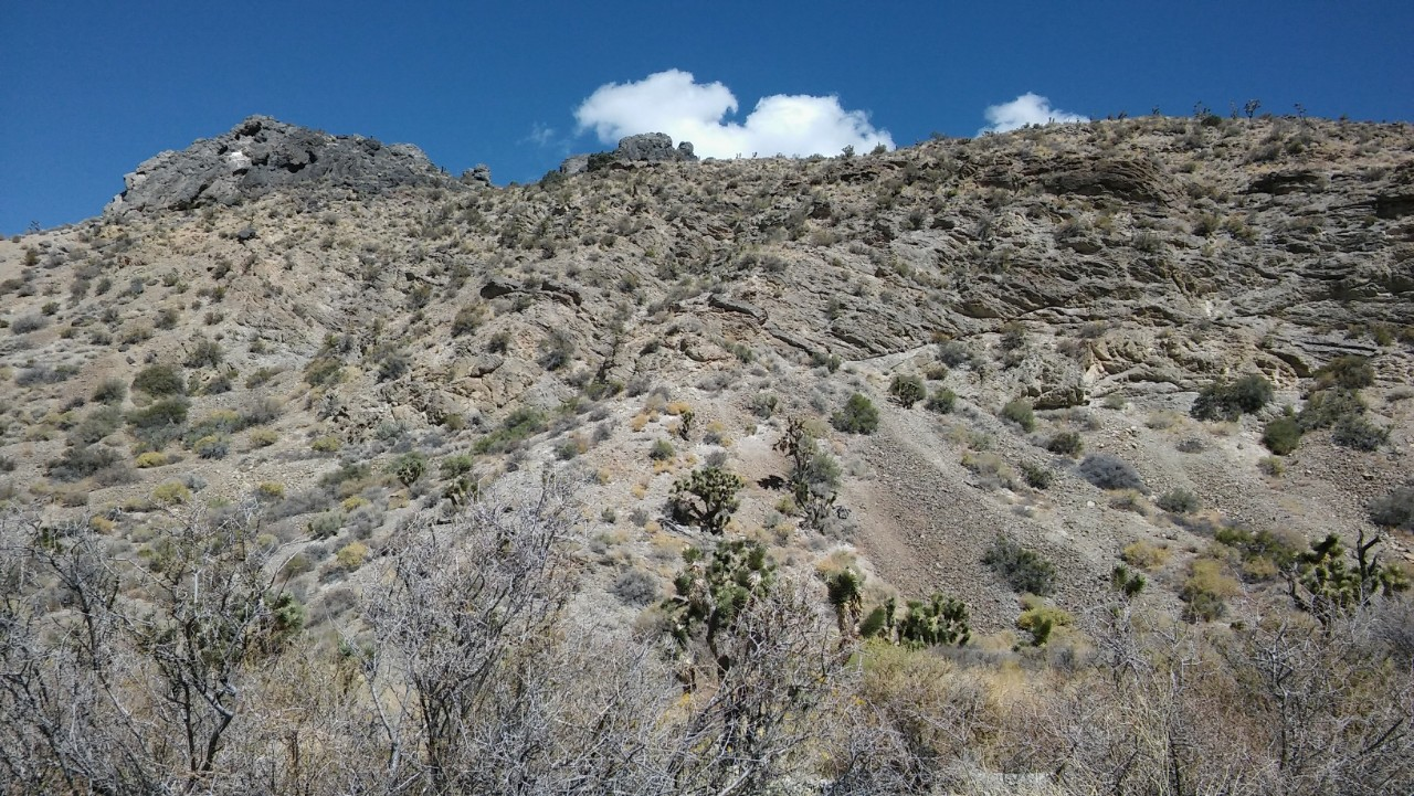 A Nevada mountain slope shows loose rock and other evidence of landslides under a blue sky.