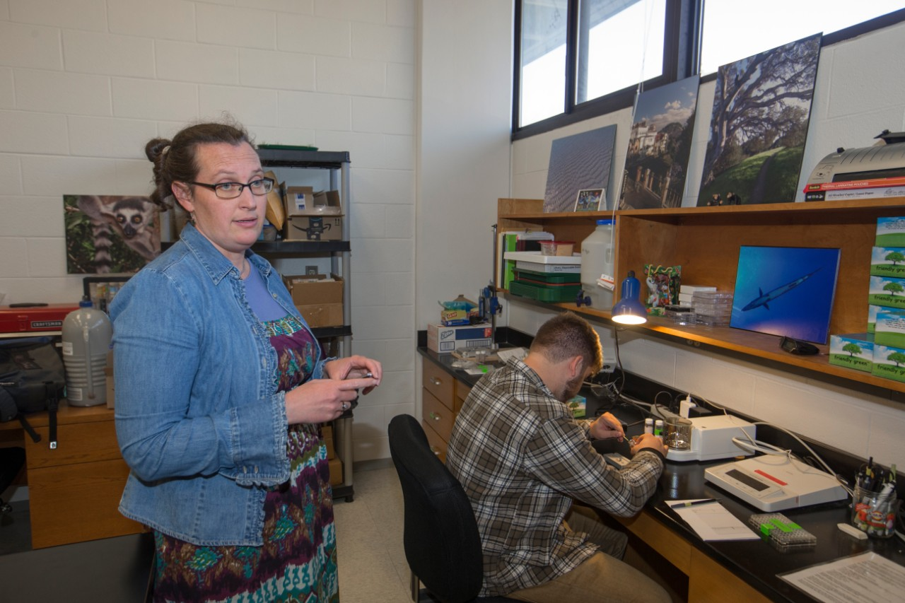 UC professor Brooke Crowley stands in her lab alongside a UC student working at a lab bench.