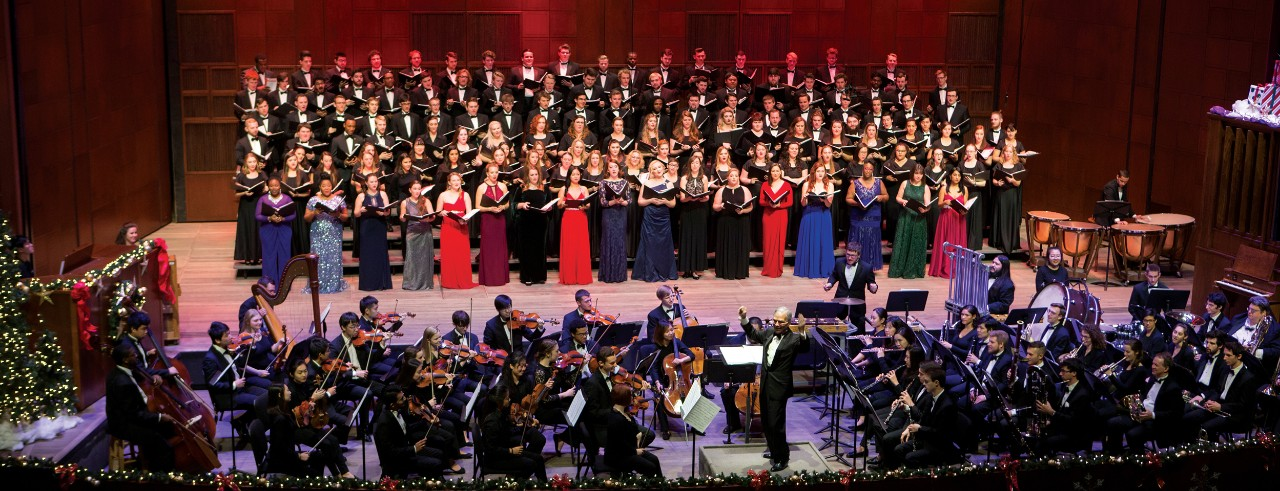 Choirs perform on stage with a full orchestra during CCM's annual Feast of Carols. Photo/Andrew Higley/UC Creative Services