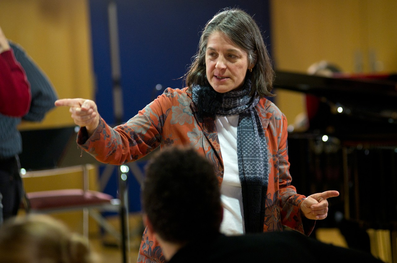 CCM Professor Robin Guarino directs student performers during an Opera Fusion workshop.