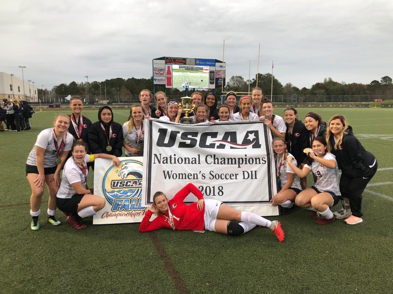 2018 women's soccer team celebrates national championship win