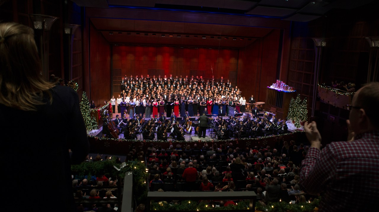 A holiday-themed performance in the newly-renovated Corbett Auditorium receives a standing ovation.