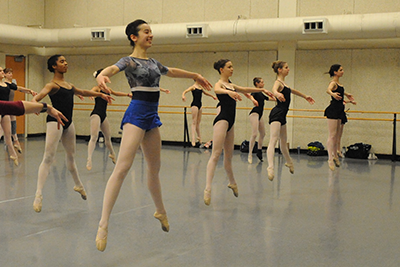 CCM Prep ballet dancers rehearse in the college's dance studio.