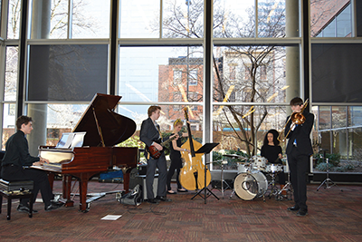 CCM Prep jazz students perform in the lobby of CCM's Werner Recital Hall.